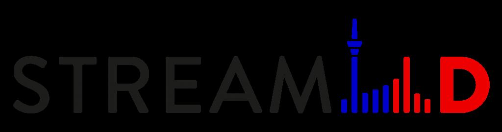 Logo StreamD mit Fernsehturm und Wellen