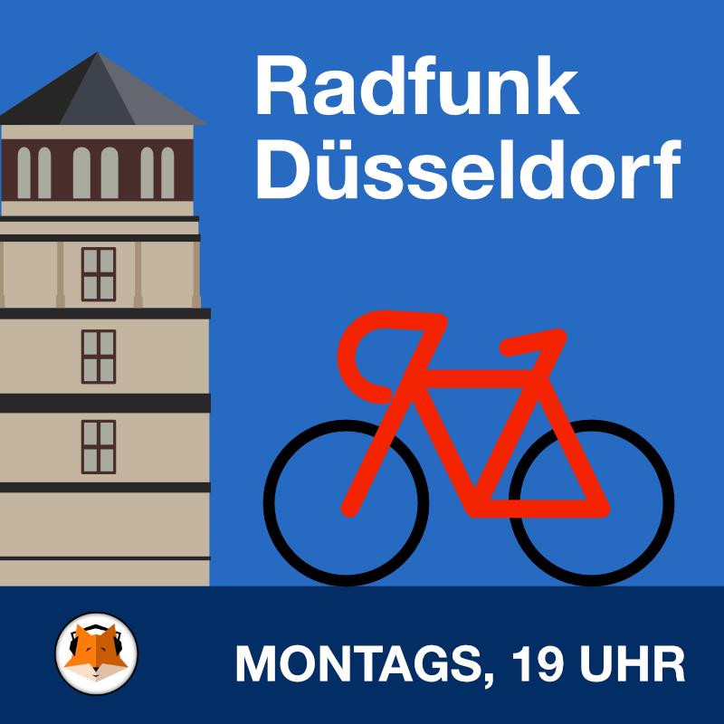 Grafik Schlossturm Düsseldorf und rotes Fahrrad